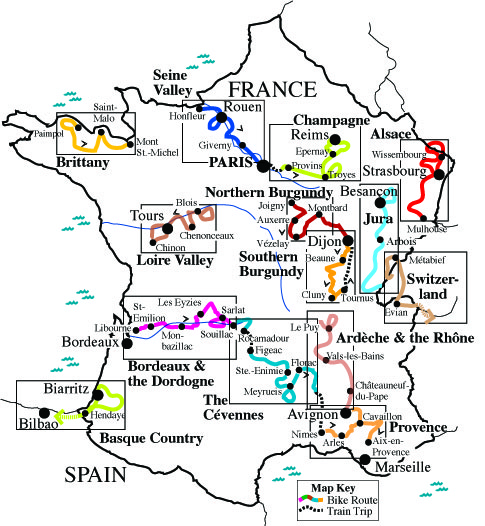Areas Of France Map.French Itineraries An Introduction